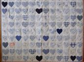 144 hearts patchwork quilt in blue